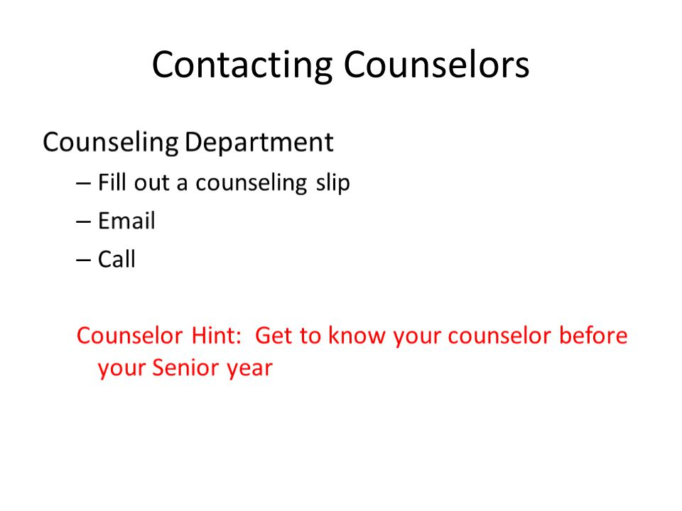 Contacting Counselors