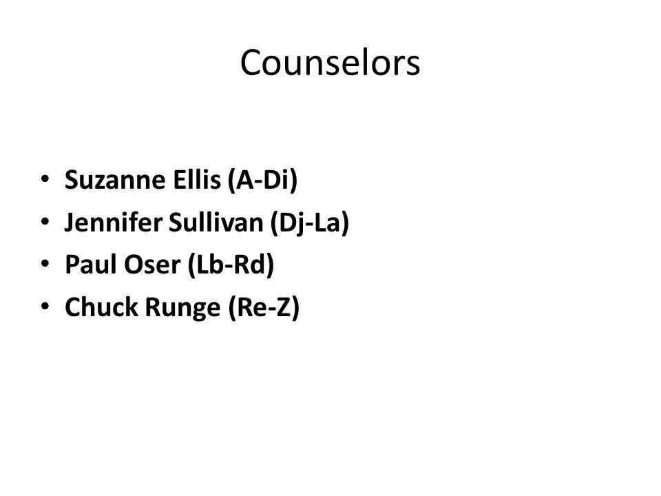 Counselors Suzanne Ellis (A-Di) Jennifer Sullivan (Dj-La) Paul Oser (Lb-Rd) Chuck Runge (Re-Z)