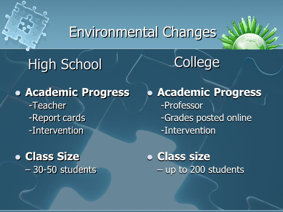 High School Academic Progress -Teacher -Report cards -Intervention Class Size – 30-50 students Academic Progress -Teacher -Report cards -Intervention Class Size – 30-50 students College Environmental Changes Academic Progress Academic Progress-Professor -Grades posted online -Intervention Class size Class size – up to 200 students
