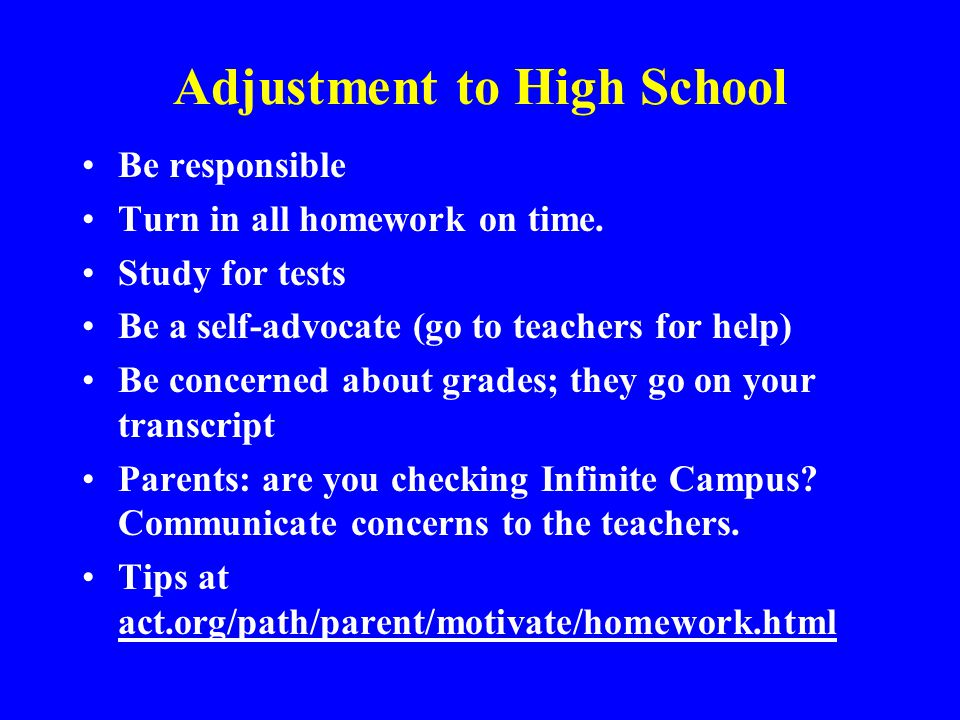Adjustment to High School Be responsible Turn in all homework on time. Study for tests Be a self-advocate (go to teachers for help) Be concerned about