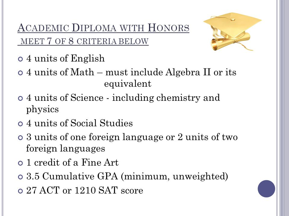 A CADEMIC D IPLOMA WITH H ONORS MEET 7 OF 8 CRITERIA BELOW 4 units of English 4 units of Math – must include Algebra II or its equivalent 4 units of Science - including chemistry and physics 4 units of Social Studies 3 units of one foreign language or 2 units of two foreign languages 1 credit of a Fine Art 3.5 Cumulative GPA (minimum, unweighted) 27 ACT or 1210 SAT score