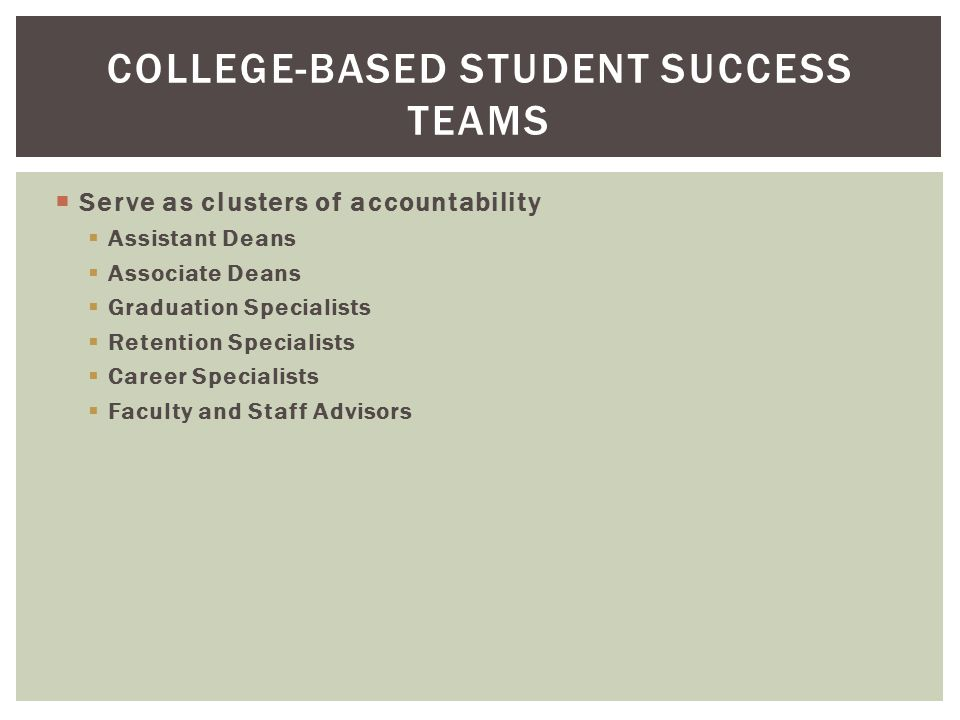  Serve as clusters of accountability  Assistant Deans  Associate Deans  Graduation Specialists  Retention Specialists  Career Specialists  Faculty and Staff Advisors COLLEGE-BASED STUDENT SUCCESS TEAMS