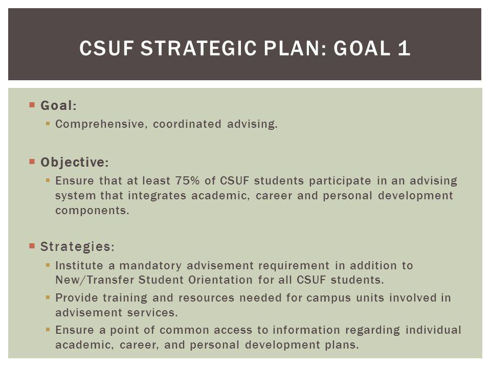  Goal:  Comprehensive, coordinated advising.