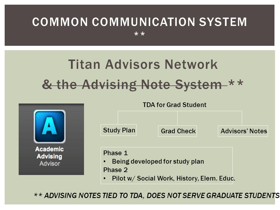 COMMON COMMUNICATION SYSTEM ** Titan Advisors Network & the Advising Note System ** ** ADVISING NOTES TIED TO TDA, DOES NOT SERVE GRADUATE STUDENTS St