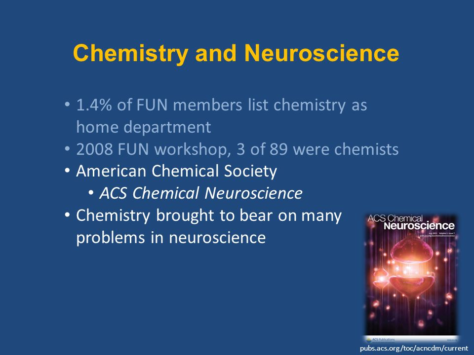 Chemistry and Neuroscience 1.4% of FUN members list chemistry as home department 2008 FUN workshop, 3 of 89 were chemists American Chemical Society ACS Chemical Neuroscience Chemistry brought to bear on many problems in neuroscience pubs.acs.org/toc/acncdm/current