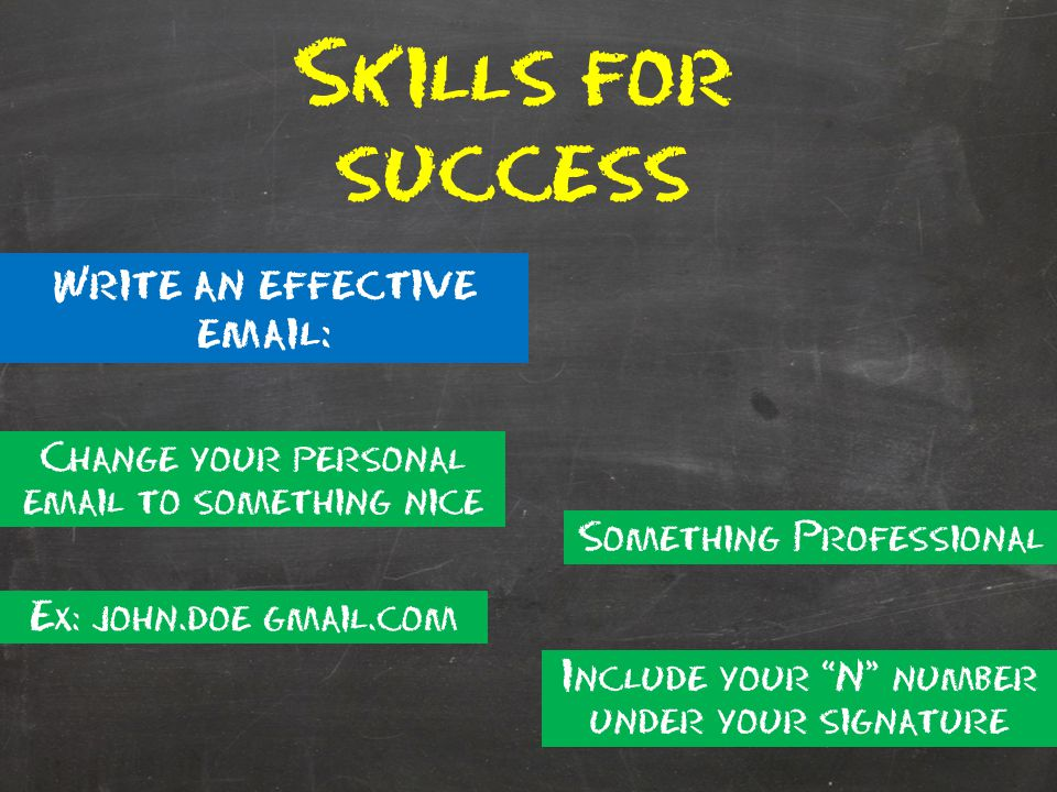 Skills for success Write an effective email: Change your personal email to something nice Something Professional Ex: john.doe@gmail.com Include your N number under your signature