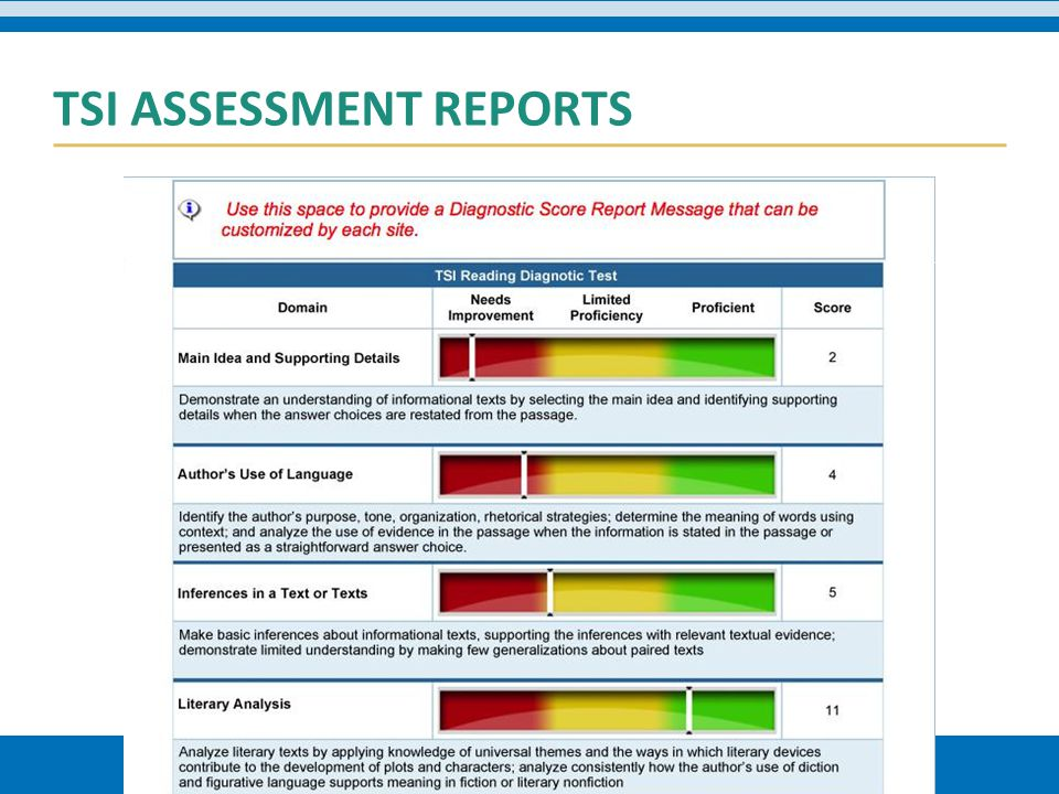 TSI ASSESSMENT REPORTS
