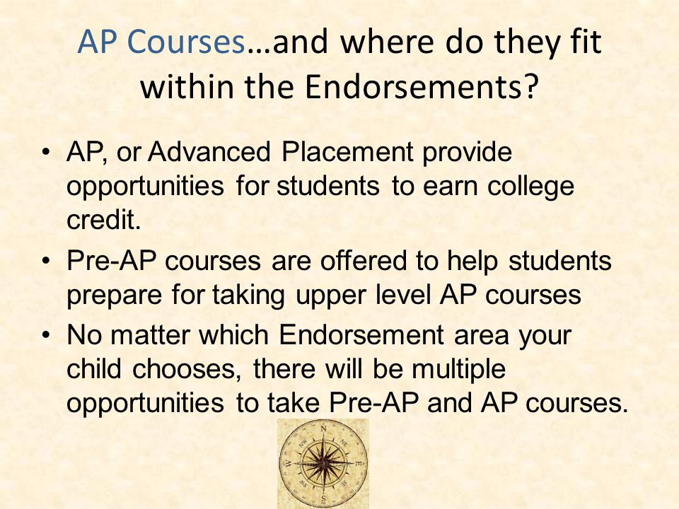 AP Courses…and where do they fit within the Endorsements.