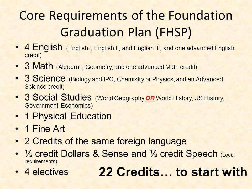 Core Requirements of the Foundation Graduation Plan (FHSP) 4 English (English I, English II, and English III, and one advanced English credit) 3 Math (Algebra I, Geometry, and one advanced Math credit) 3 Science (Biology and IPC, Chemistry or Physics, and an Advanced Science credit) 3 Social Studies (World Geography OR World History, US History, Government, Economics) 1 Physical Education 1 Fine Art 2 Credits of the same foreign language ½ credit Dollars & Sense and ½ credit Speech (Local requirements) 4 electives 22 Credits… to start with