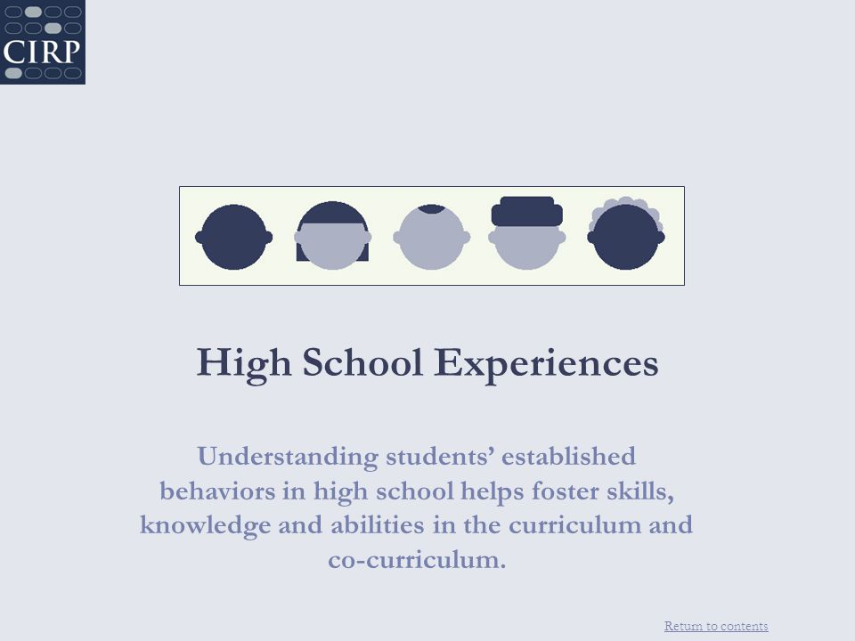 Return to contents High School Experiences Understanding students' established behaviors in high school helps foster skills, knowledge and abilities in the curriculum and co-curriculum.