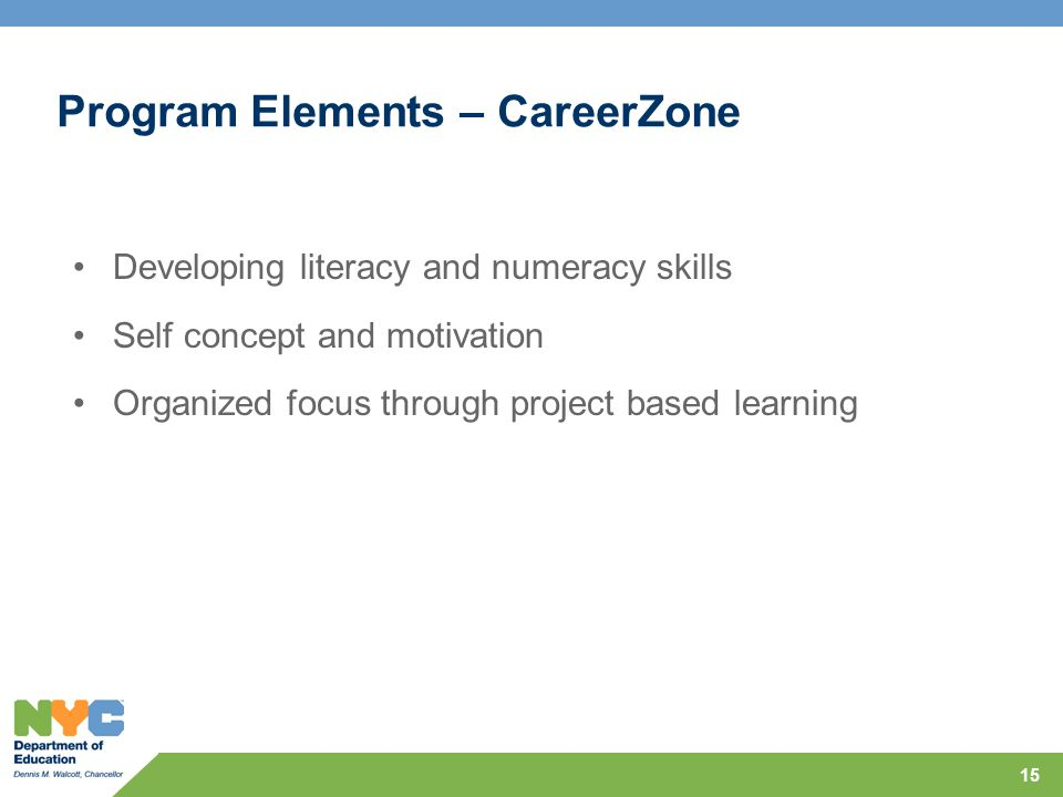 Program Elements – CareerZone Developing literacy and numeracy skills Self concept and motivation Organized focus through project based learning 15