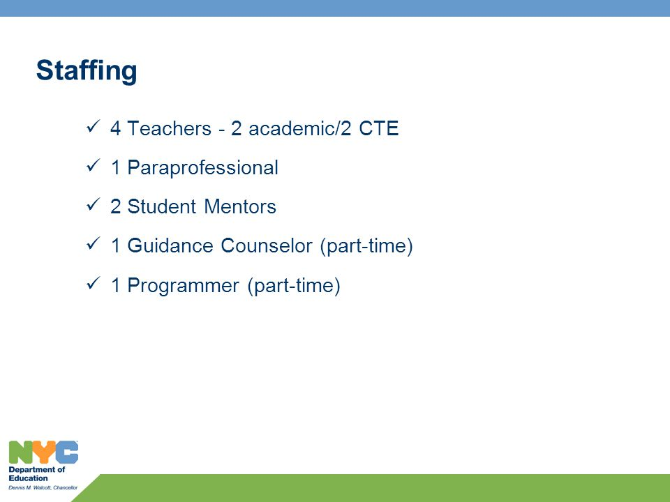 Staffing 4 Teachers - 2 academic/2 CTE 1 Paraprofessional 2 Student Mentors 1 Guidance Counselor (part-time) 1 Programmer (part-time)
