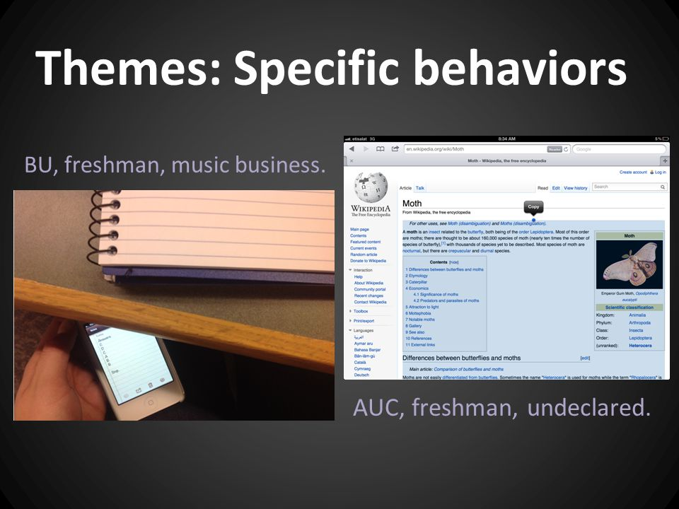 Themes: Specific behaviors BU, freshman, music business. AUC, freshman, undeclared.