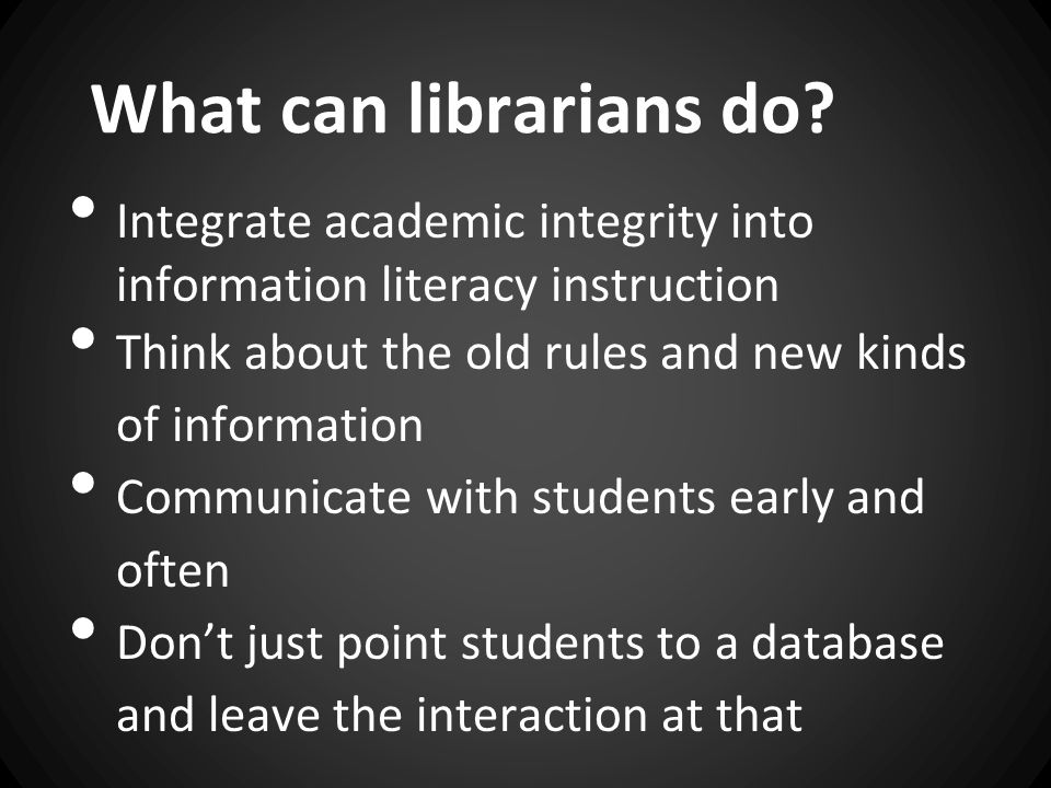 What can librarians do.
