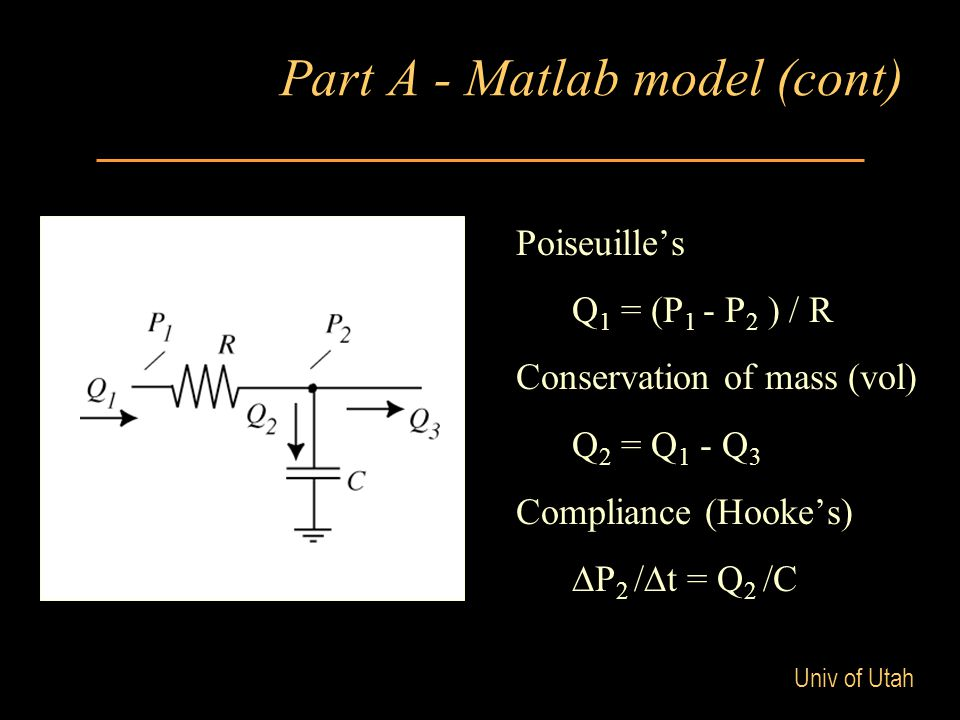 Univ of Utah Part A - Matlab model (cont) Poiseuille's Q 1 = (P 1 - P 2 ) / R Conservation of mass (vol) Q 2 = Q 1 - Q 3 Compliance (Hooke's) ∆P 2 /∆t = Q 2 /C