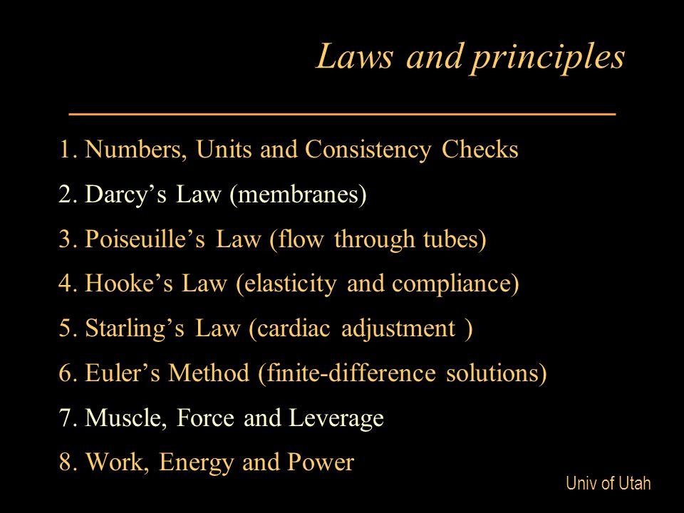Univ of Utah Laws and principles (cont) 8.Ohm's Law (current, voltage, resistance) 9.