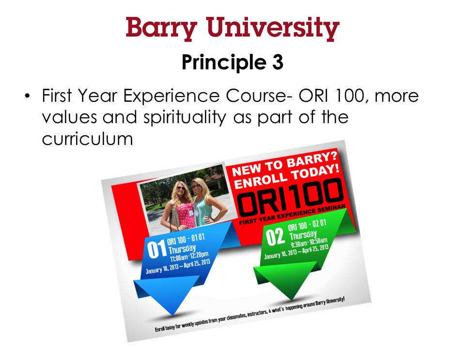 Principle 3 First Year Experience Course- ORI 100, more values and spirituality as part of the curriculum