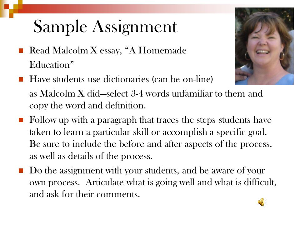 Sample Assignment Read Malcolm X essay, A Homemade Education Have students use dictionaries (can be on-line) as Malcolm X did—select 3-4 words unfamiliar to them and copy the word and definition.