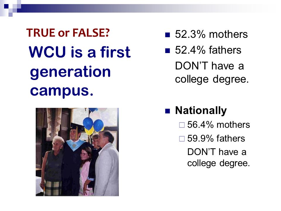 WCU is a first generation campus. 52.3% mothers 52.4% fathers DON'T have a college degree. Nationally  56.4% mothers  59.9% fathers DON'T have a col