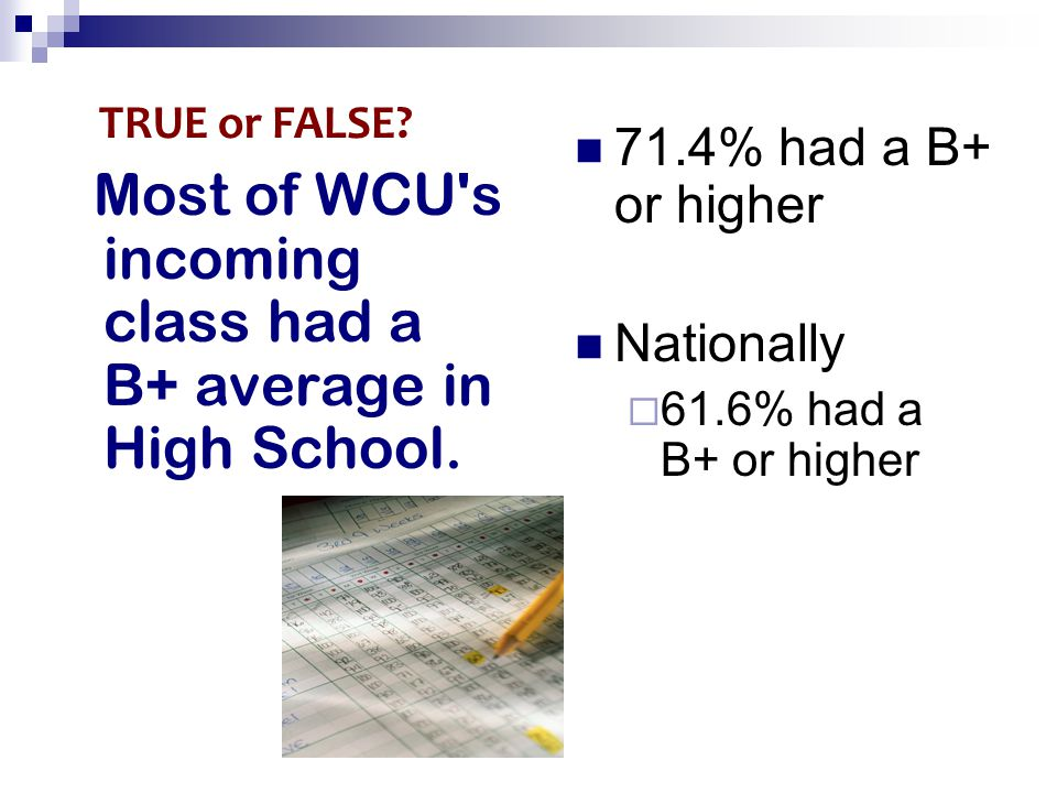 Most of WCU s incoming class had a B+ average in High School.