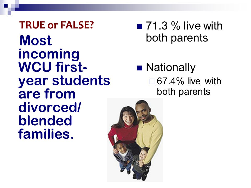 Most incoming WCU first- year students are from divorced/ blended families.