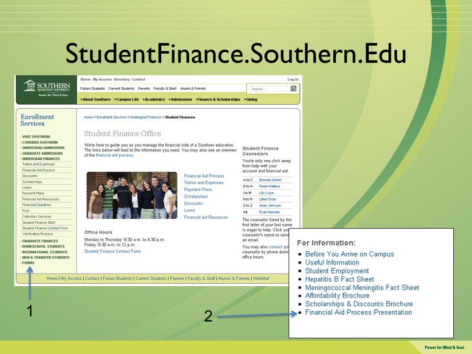 StudentFinance.Southern.Edu 1 2