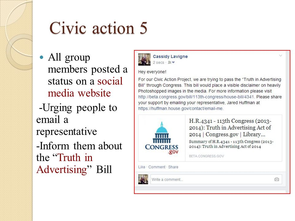 Civic action 5 All group members posted a status on a social media website -Urging people to email a representative -Inform them about the Truth in Advertising Bill