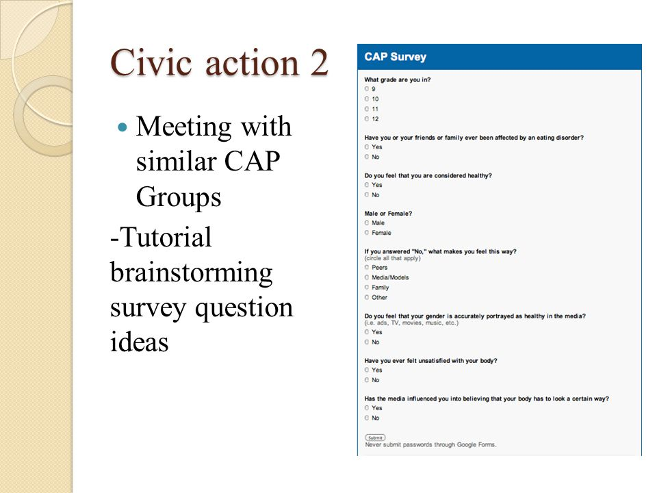 Civic action 2 Meeting with similar CAP Groups -Tutorial brainstorming survey question ideas