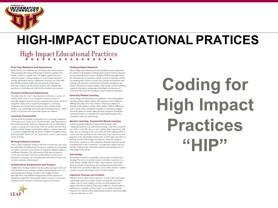 HIGH-IMPACT EDUCATIONAL PRATICES Coding for High Impact Practices HIP