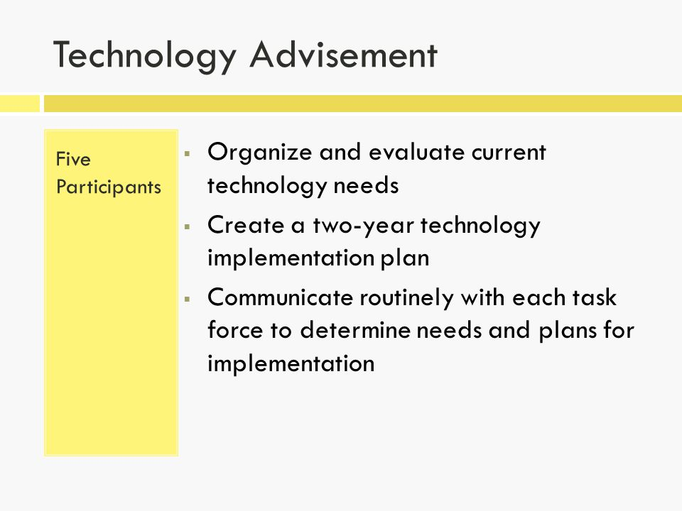 Technology Advisement Five Participants  Organize and evaluate current technology needs  Create a two-year technology implementation plan  Communicate routinely with each task force to determine needs and plans for implementation