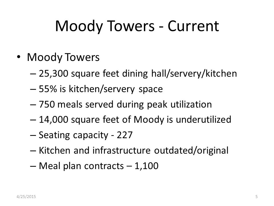 Moody Towers - Current Moody Towers – 25,300 square feet dining hall/servery/kitchen – 55% is kitchen/servery space – 750 meals served during peak utilization – 14,000 square feet of Moody is underutilized – Seating capacity - 227 – Kitchen and infrastructure outdated/original – Meal plan contracts – 1,100 4/25/20155