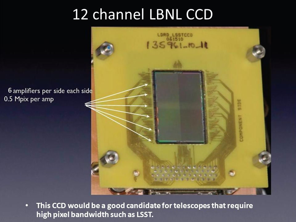 6 12 channel LBNL CCD This CCD would be a good candidate for telescopes that require high pixel bandwidth such as LSST.