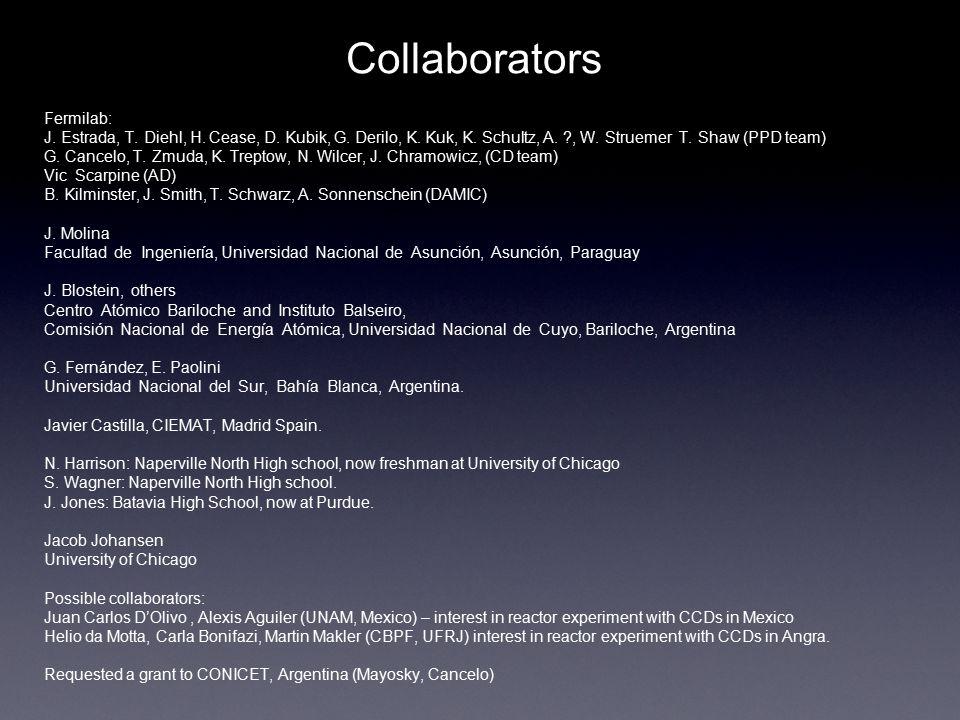Collaborators Fermilab: J.Estrada, T. Diehl, H. Cease, D.