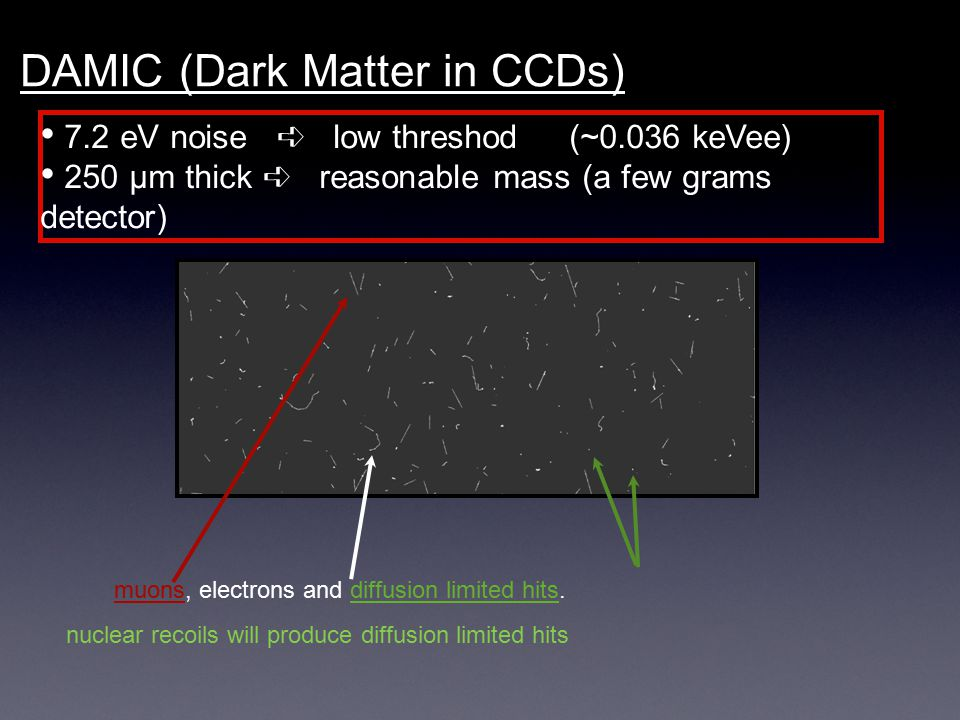 DAMIC (Dark Matter in CCDs) 7.2 eV noise ➪ low threshod (~0.036 keVee) 250 μm thick ➪ reasonable mass (a few grams detector) muons, electrons and diff
