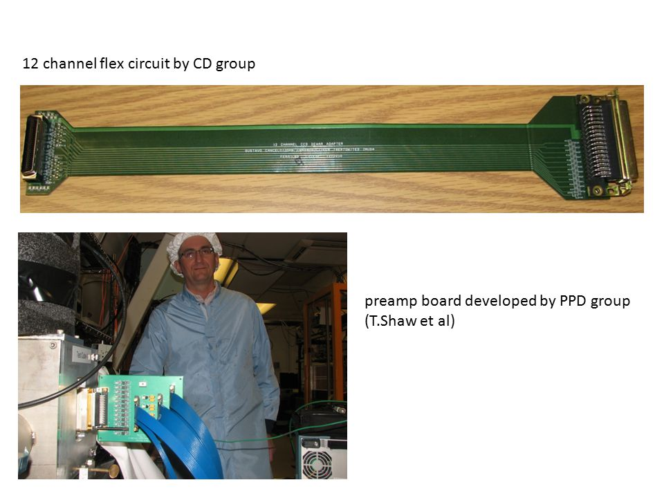 12 channel flex circuit by CD group preamp board developed by PPD group (T.Shaw et al)