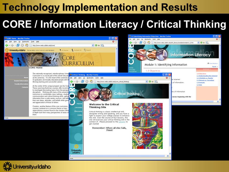 Technology Implementation and Results CORE / Information Literacy / Critical Thinking