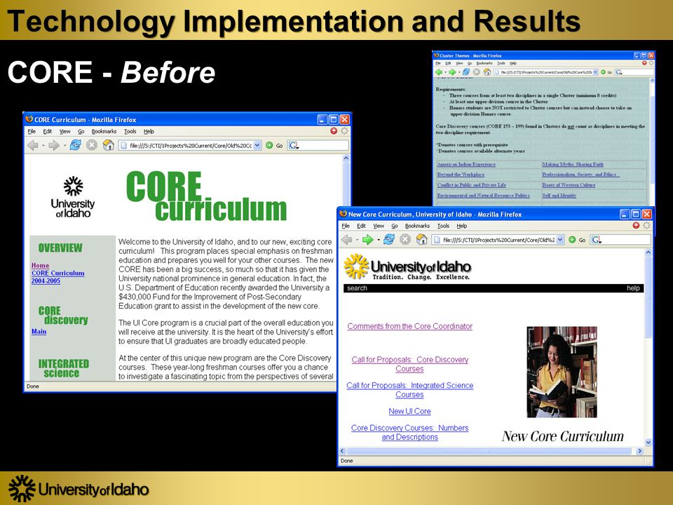 Technology Implementation and Results CORE - Before