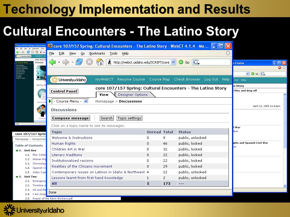 Technology Implementation and Results Cultural Encounters - The Latino Story