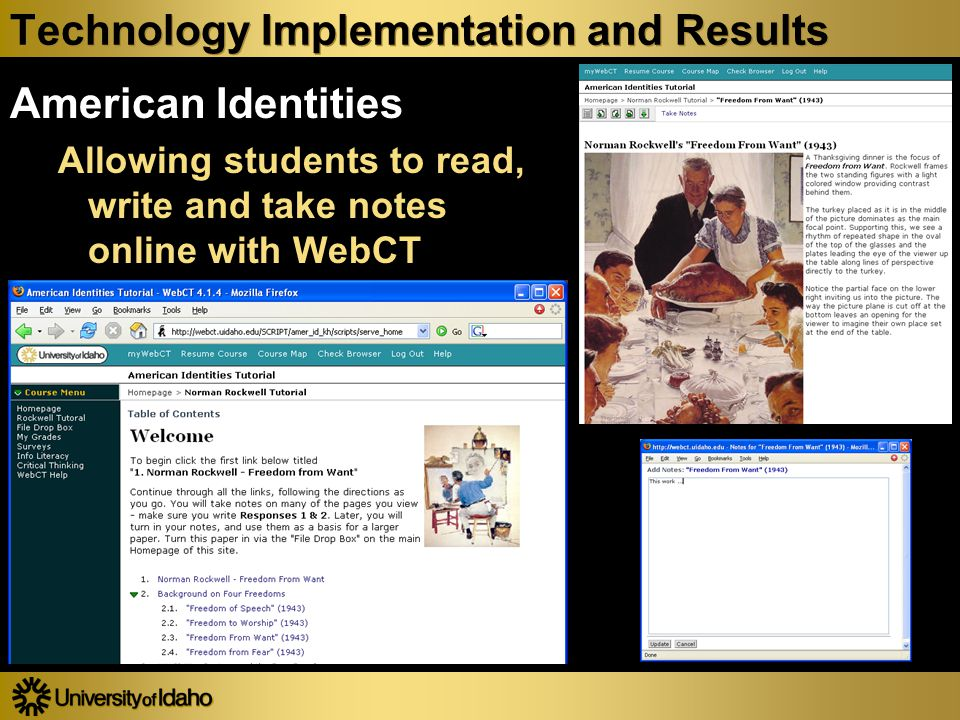Technology Implementation and Results American Identities Allowing students to read, write and take notes online with WebCT American Identities Allowing students to read, write and take notes online with WebCT