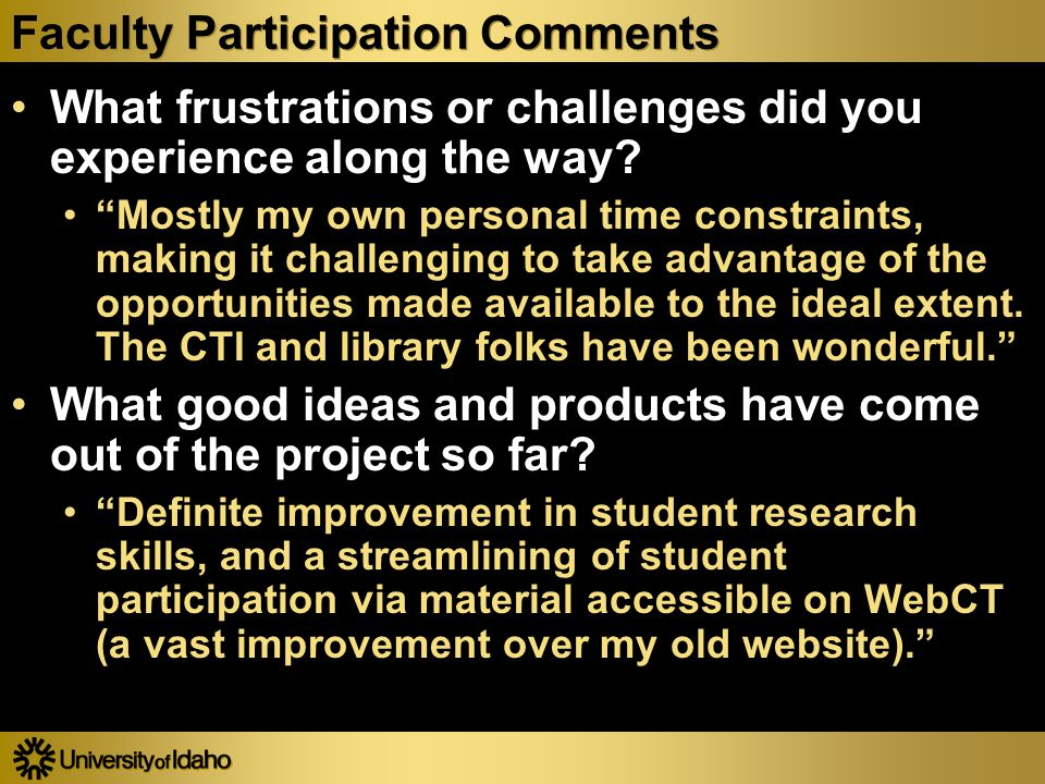 Faculty Participation Comments What frustrations or challenges did you experience along the way.
