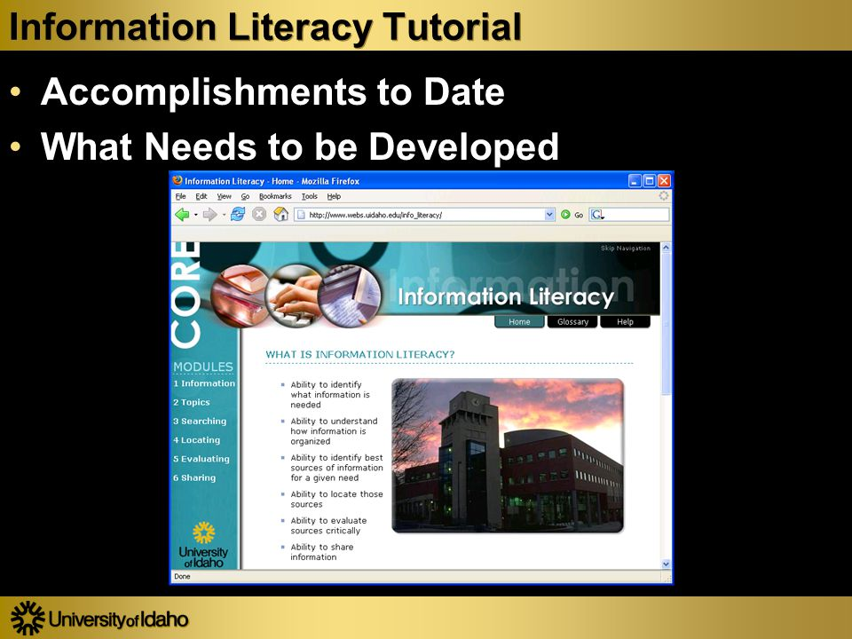 Information Literacy Tutorial Accomplishments to Date What Needs to be Developed Accomplishments to Date What Needs to be Developed