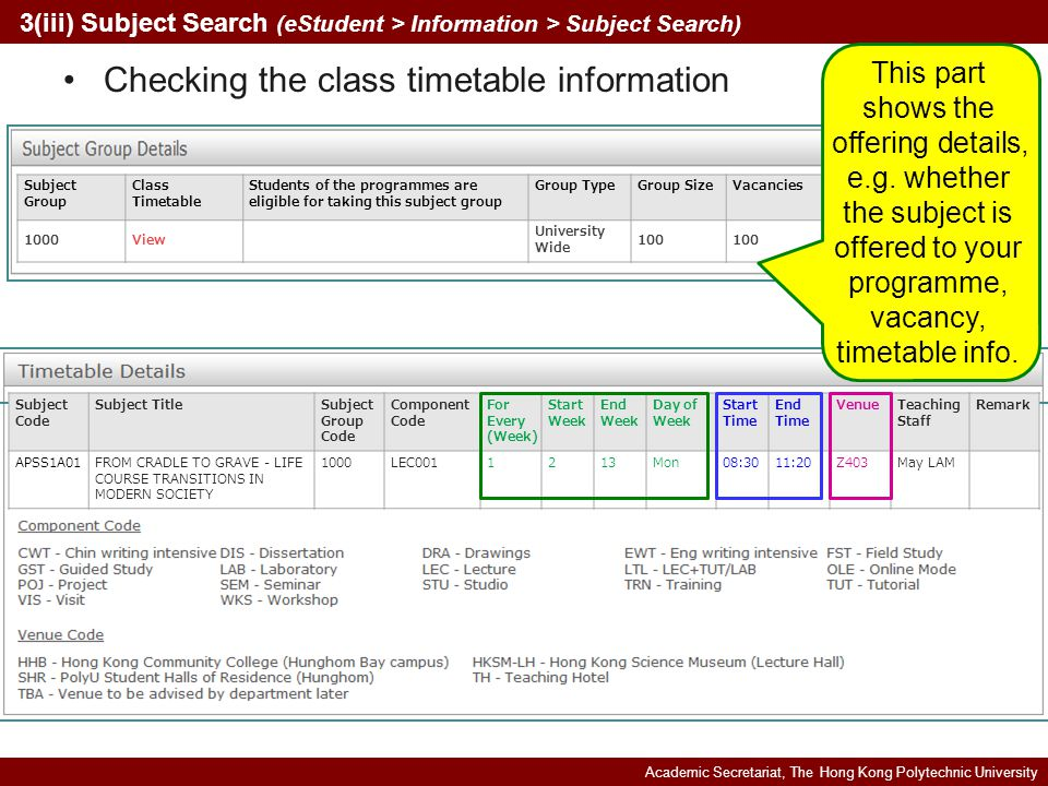 Academic Secretariat, The Hong Kong Polytechnic University Subject Code Subject TitleSubject Group Code Component Code For Every (Week) Start Week End Week Day of Week Start Time End Time VenueTeaching Staff Remark APSS1A01FROM CRADLE TO GRAVE - LIFE COURSE TRANSITIONS IN MODERN SOCIETY 1000LEC0011213Mon08:3011:20Z403May LAM Checking the class timetable information 3(iii) Subject Search (eStudent > Information > Subject Search) Subject Group Class Timetable Students of the programmes are eligible for taking this subject group Group TypeGroup SizeVacancies 1000View University Wide 100 This part shows the offering details, e.g.