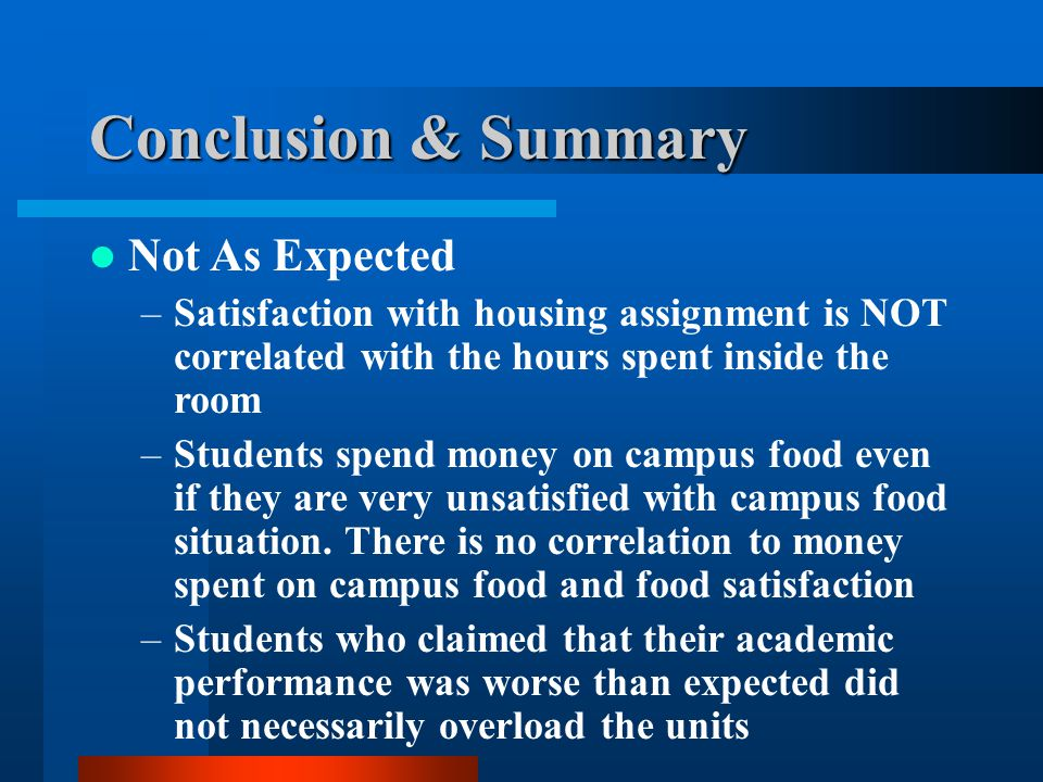 Conclusion & Summary Not As Expected –Satisfaction with housing assignment is NOT correlated with the hours spent inside the room –Students spend money on campus food even if they are very unsatisfied with campus food situation.