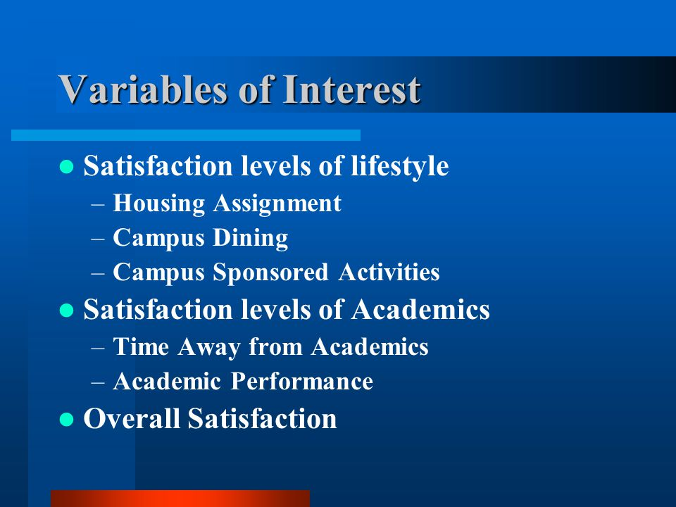Variables of Interest Satisfaction levels of lifestyle –Housing Assignment –Campus Dining –Campus Sponsored Activities Satisfaction levels of Academics –Time Away from Academics –Academic Performance Overall Satisfaction