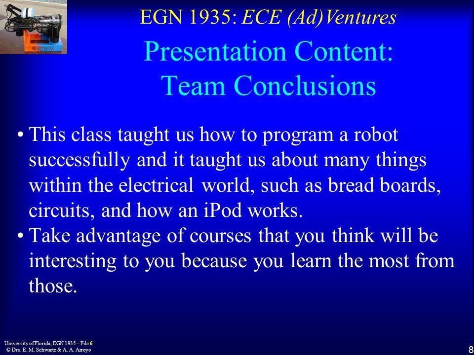 EGN 1935: ECE (Ad)Ventures 8 University of Florida, EGN 1935 – File 6 © Drs.