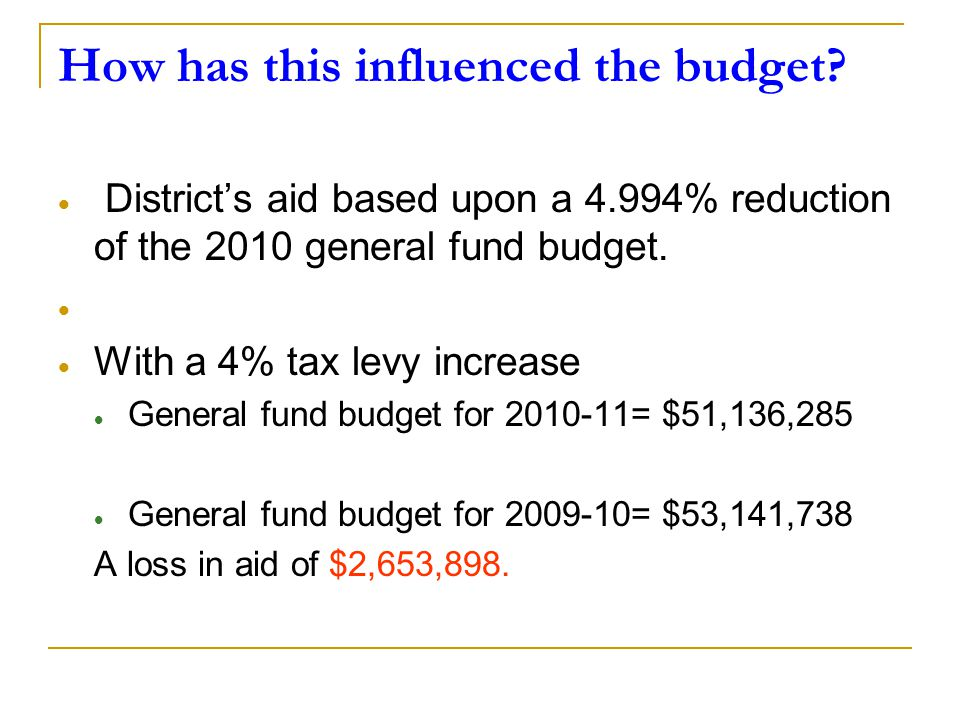 How has this influenced the budget?  District's aid based upon a 4.994% reduction of the 2010 general fund budget.   With a 4% tax levy increase 