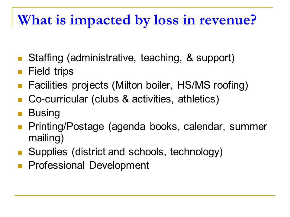 What is impacted by loss in revenue? Staffing (administrative, teaching, & support) Field trips Facilities projects (Milton boiler, HS/MS roofing) Co-