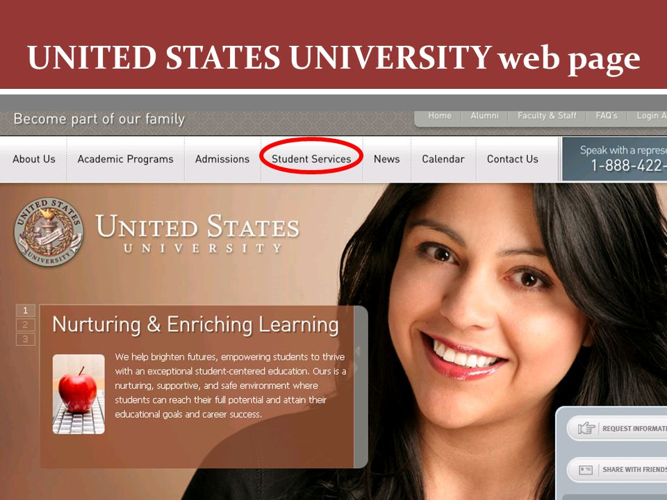 Knowledge is Empowerment UNITED STATES UNIVERSITY web page
