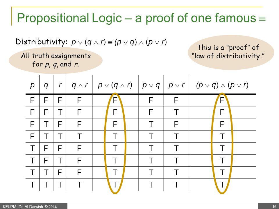 KFUPM: Dr. Al-Darwish © 201415 Propositional Logic – a proof of one famous  Distributivity: p  (q  r)  (p  q)  (p  r) pqr q  rq  rp  (q  r)