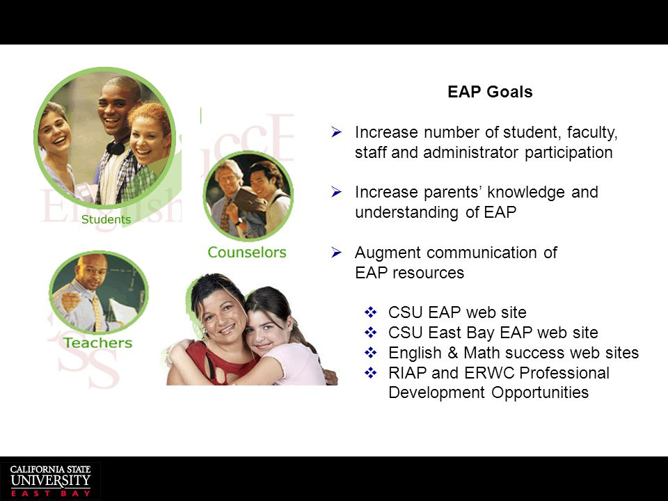 EAP Goals  Increase number of student, faculty, staff and administrator participation  Increase parents' knowledge and understanding of EAP  Augmen